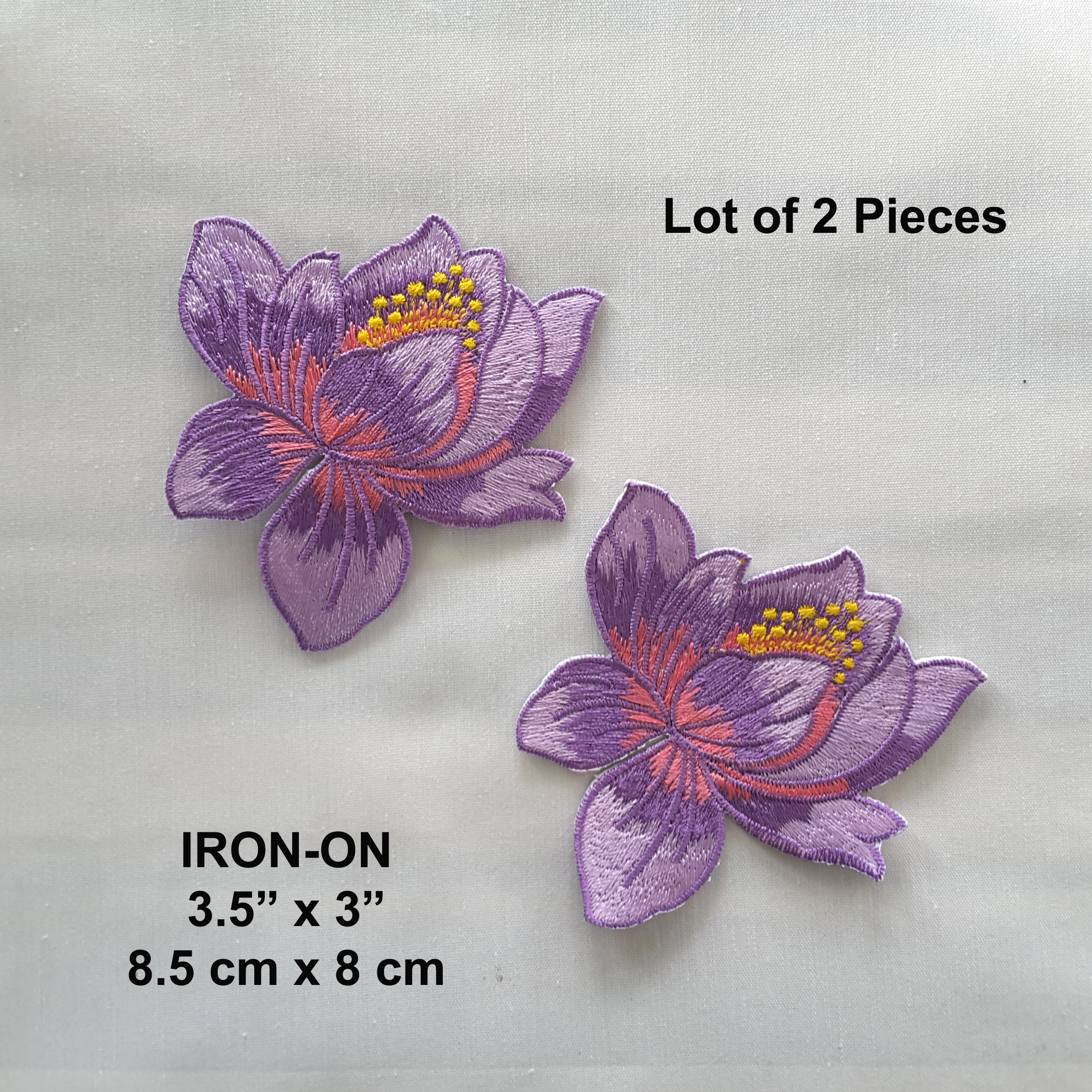 Lot Of 2 Purple Lotus Flower Embroidered Iron On Patch Embroideries Online