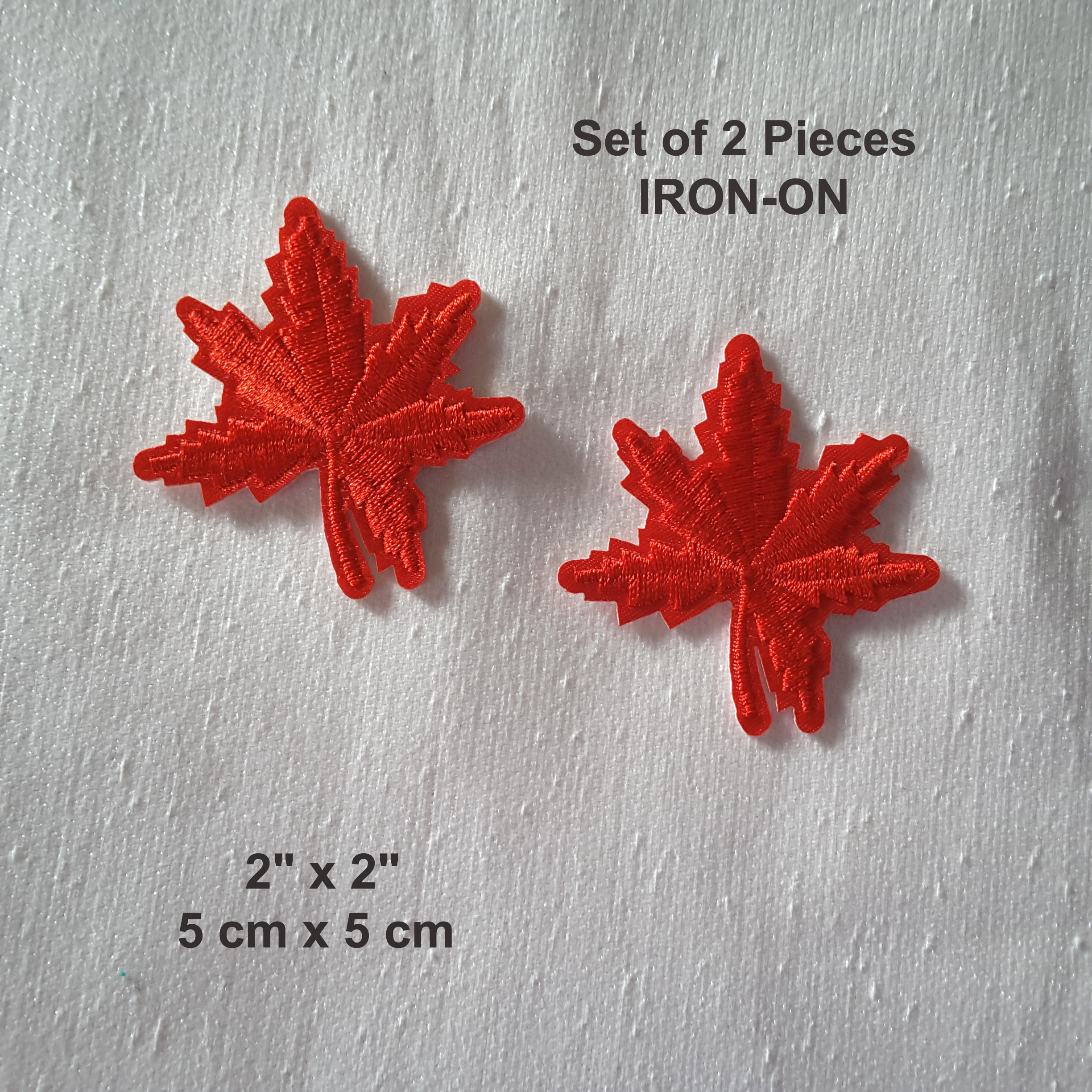 Lot Of 2 Red Maple Leaf Canadian Symbol Embroidered Iron On Patch