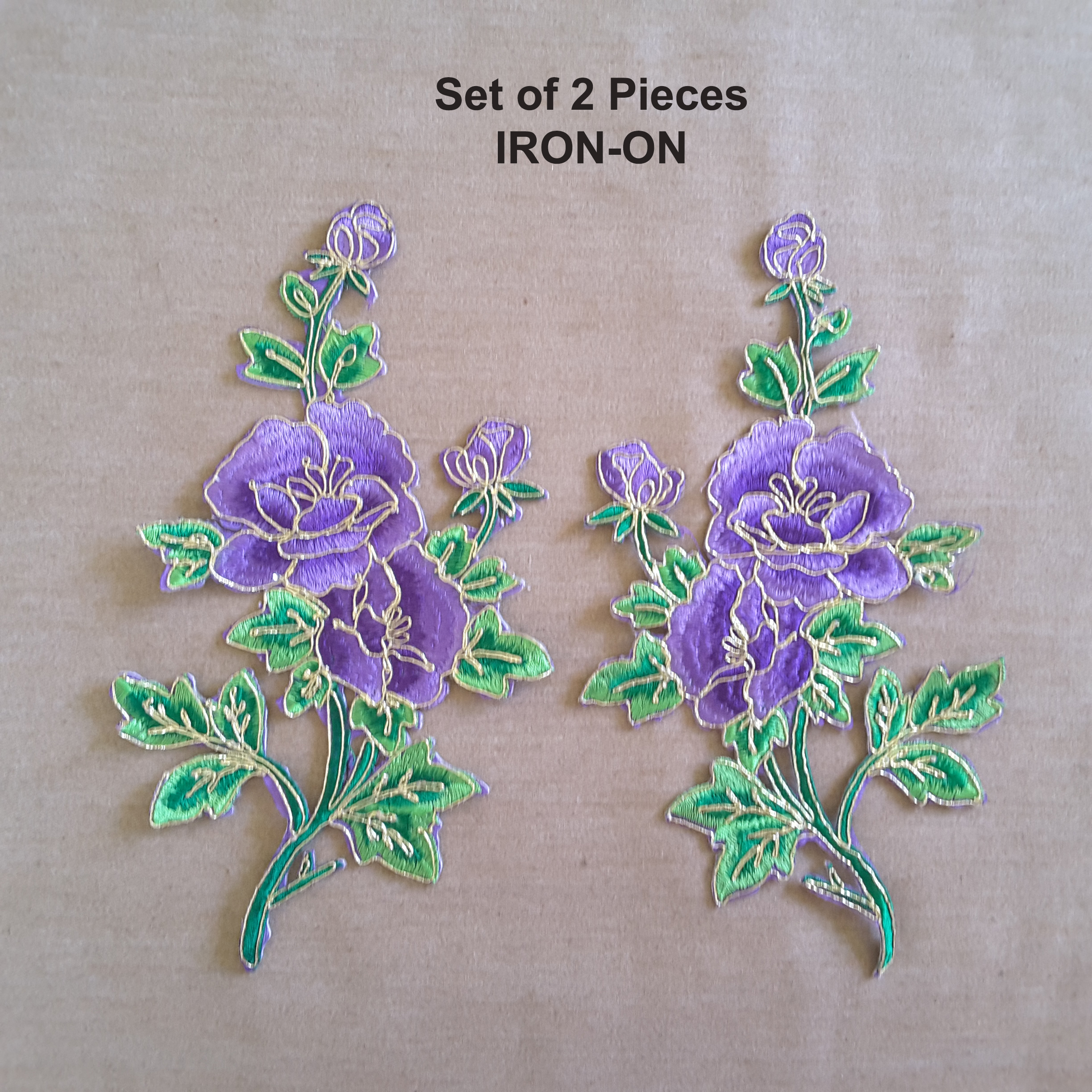 Set Of 2 Purple Green Peony Flower Embroidery Iron On Gold Trim Applique Embroideries Online