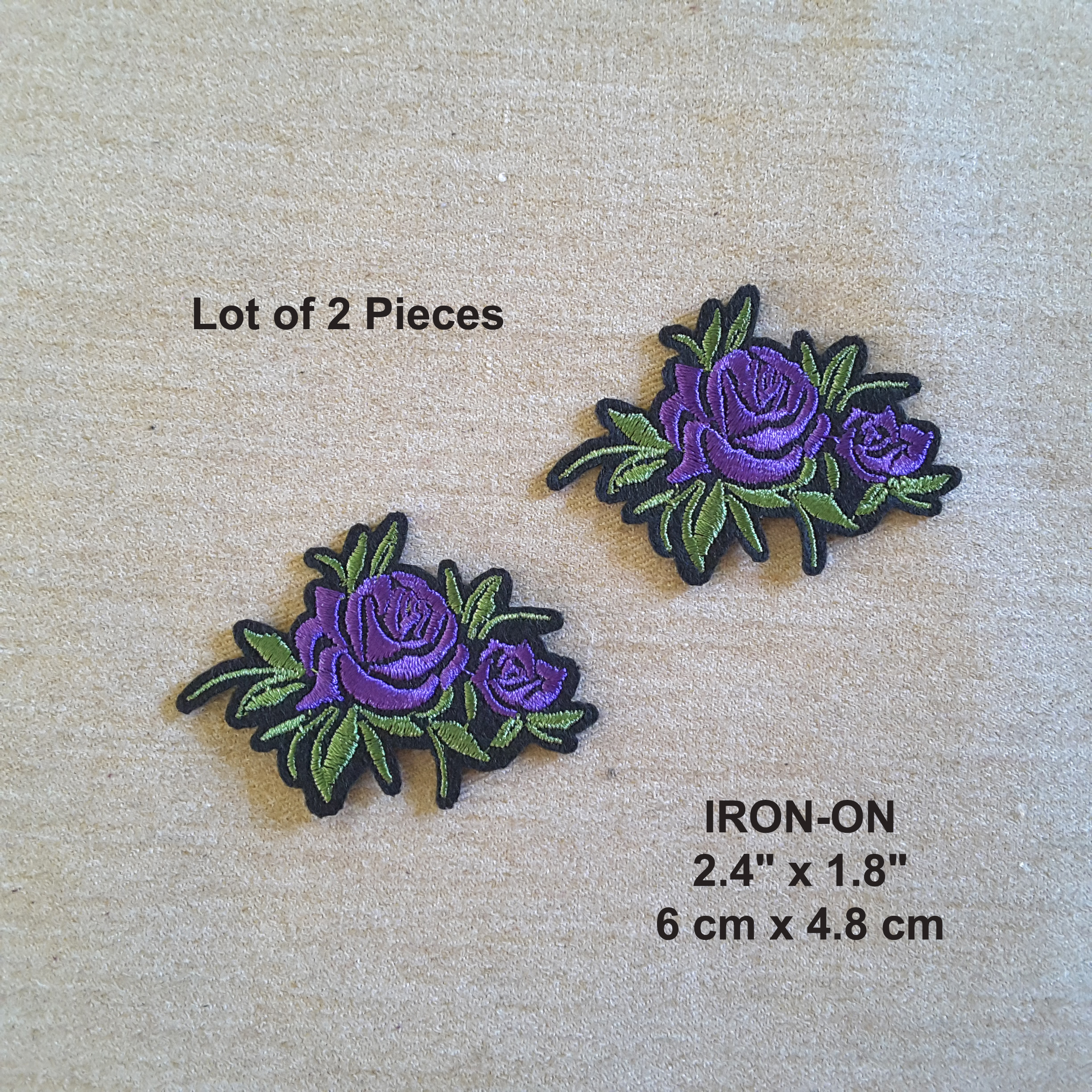 Lot Of 2 Purple Roses Flower Embroidered Iron On Rose Patch Embroideries Online