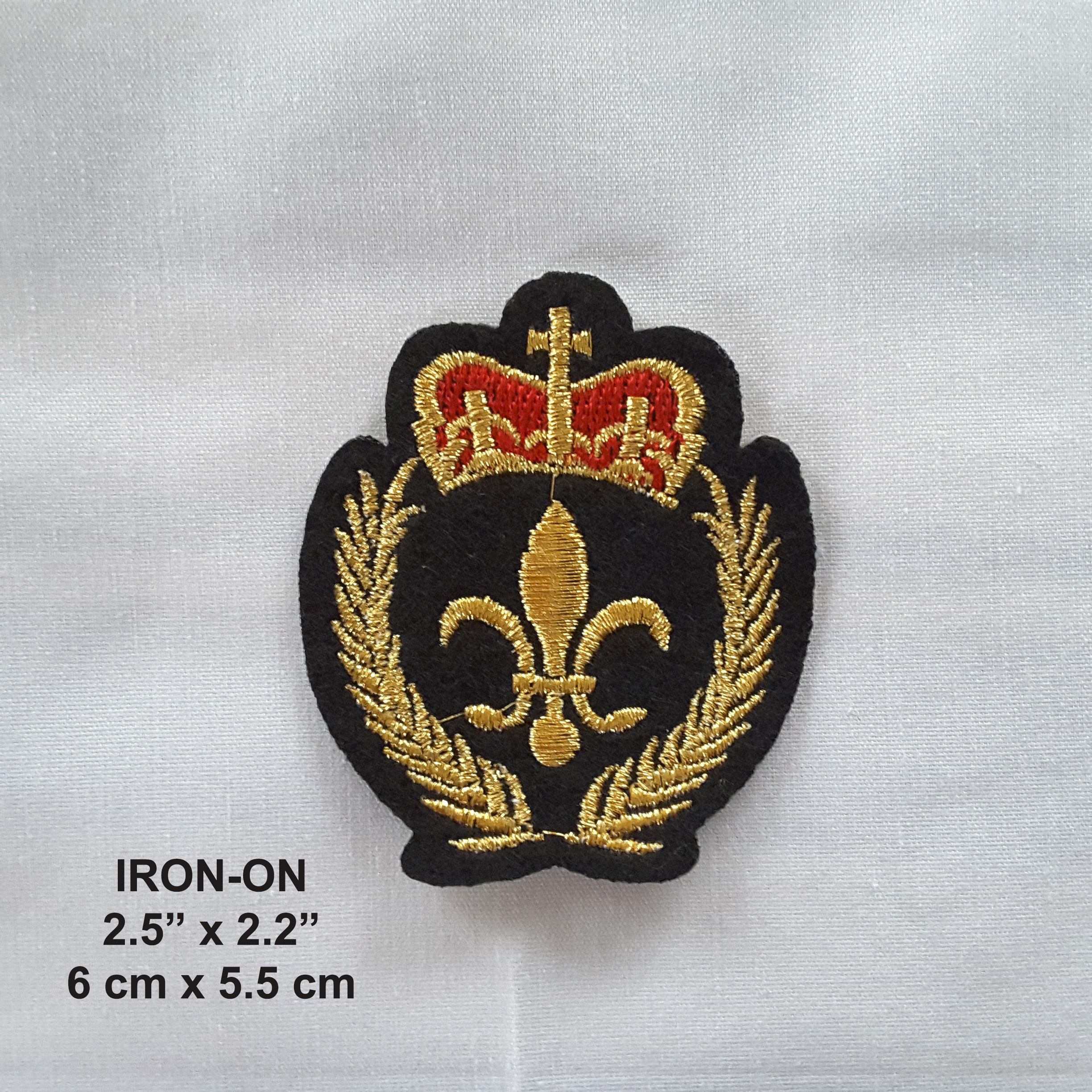 Gold Black Fleur De Lis Iron On Embroidered French Patch
