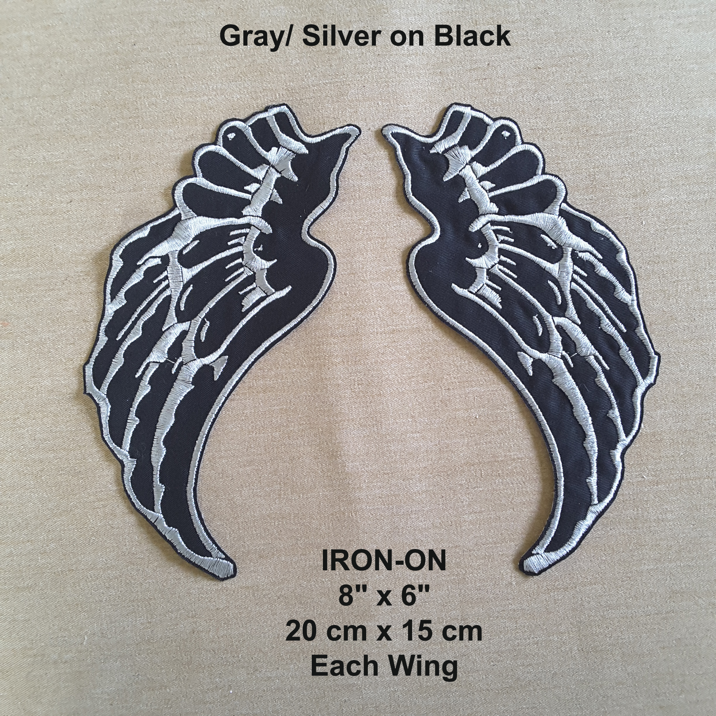 black graysilver halloween costume wings iron on embroidered applique