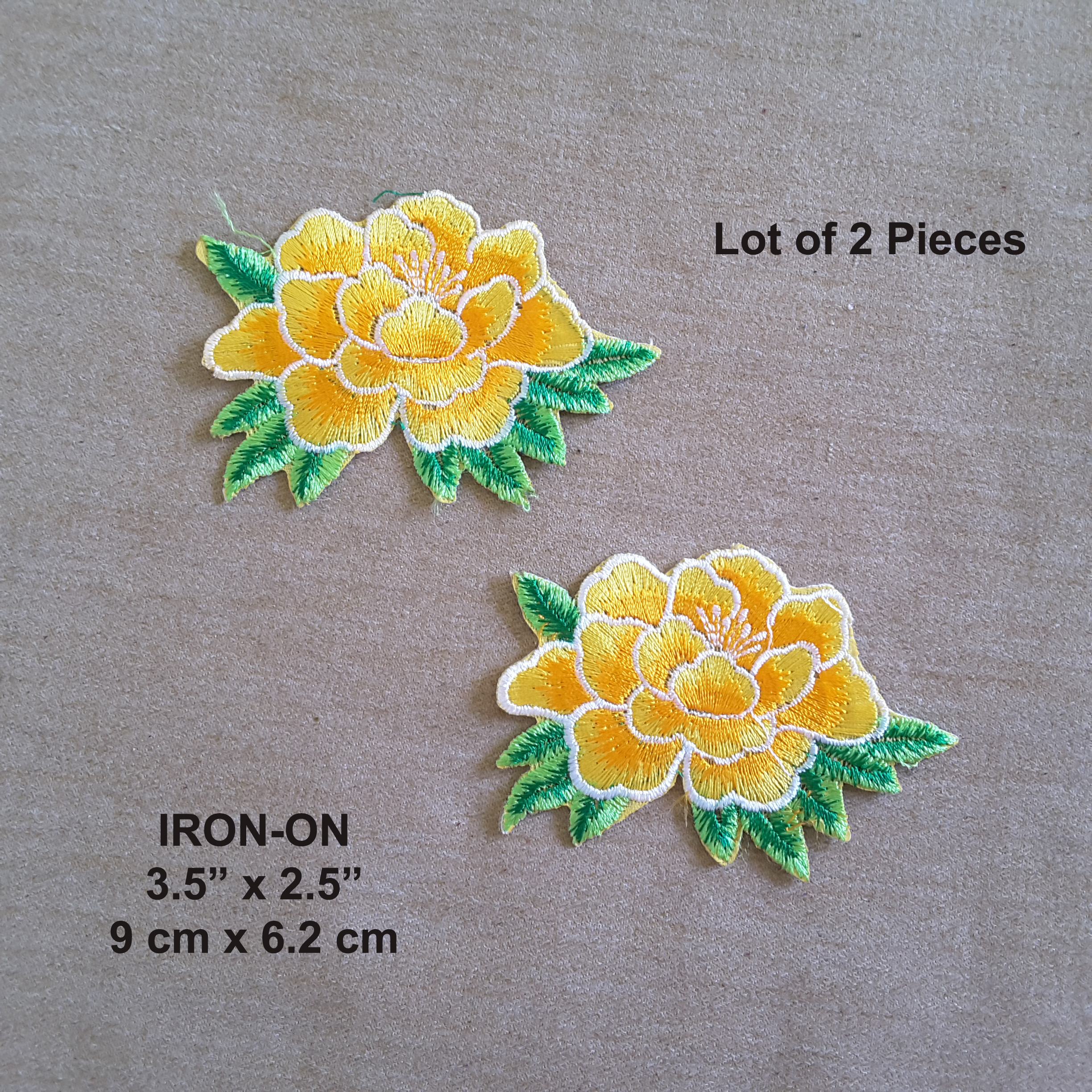 Lot of 2 orange yellow lotus flower embroidered iron on flowers lot of 2 orange yellow lotus flower embroidered iron on flowers patch izmirmasajfo