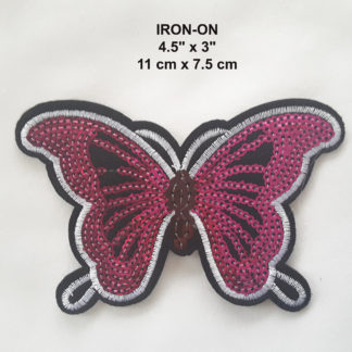 4c4d67975 Pink Sequins Embroidered Butterfly Iron-On Patch